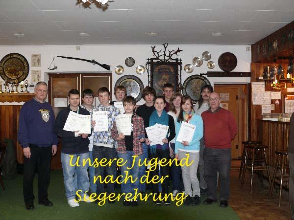 Siegerehrung der Vereinsmeister für das Sportjahr 2010